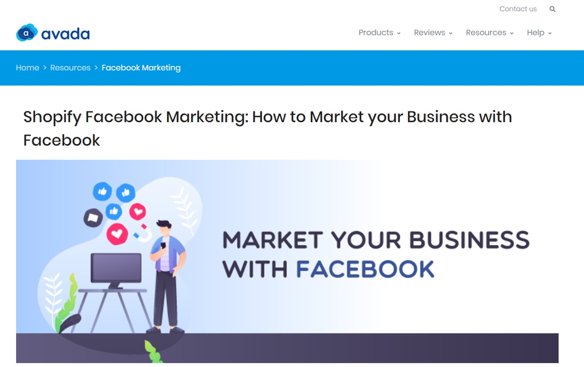 Facebook marketing article by Avada