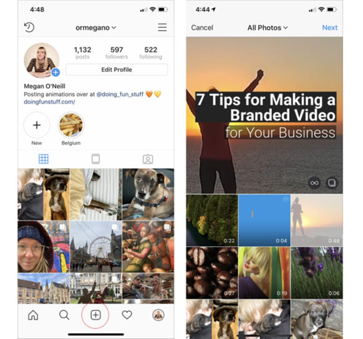 Post your video to Instagram