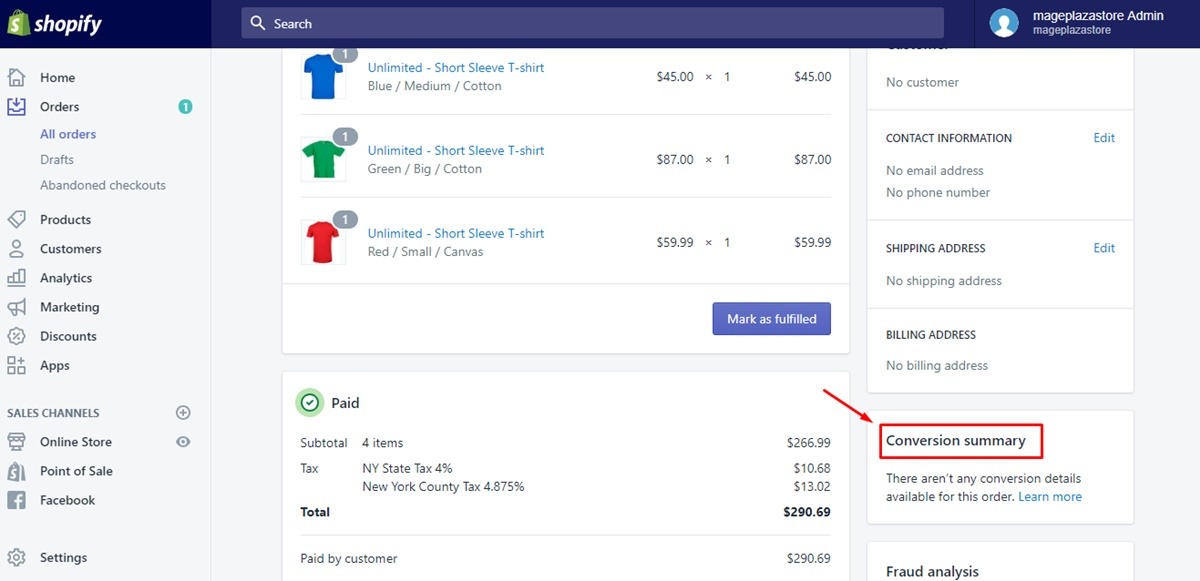 How to view an order's conversion summary 3
