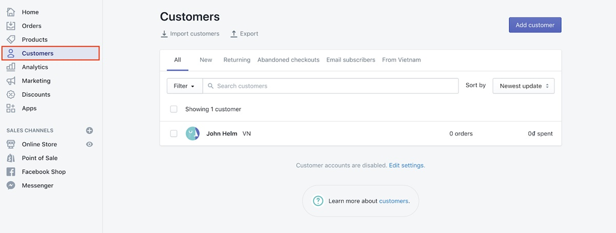 Shopify Customers Login: To see whether a customer has created an account