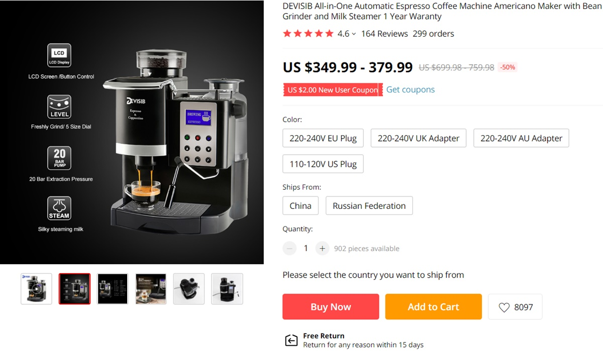 Automatic Espresso Machine on AliExpress