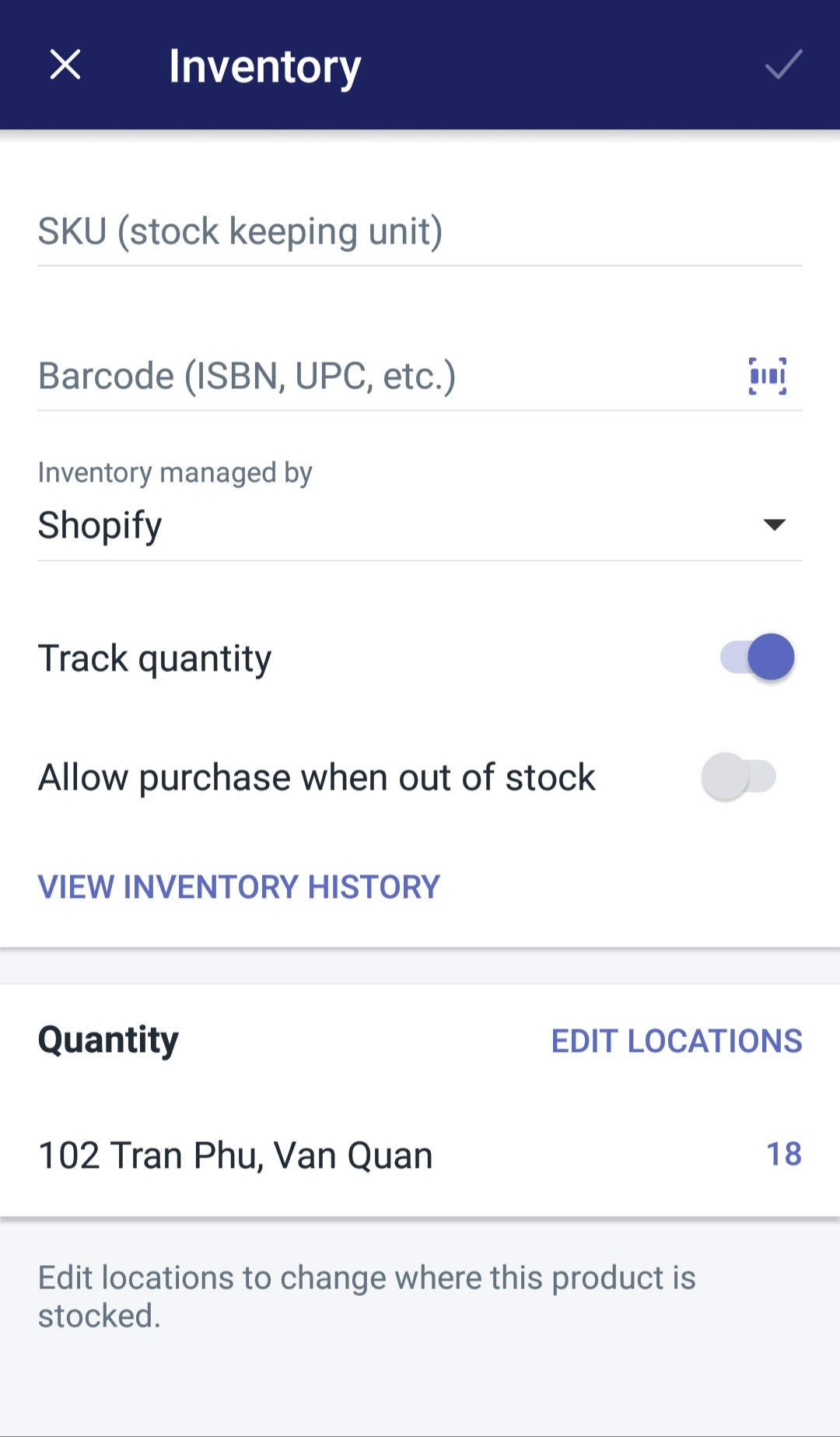 changing inventory quantities by product Shopify