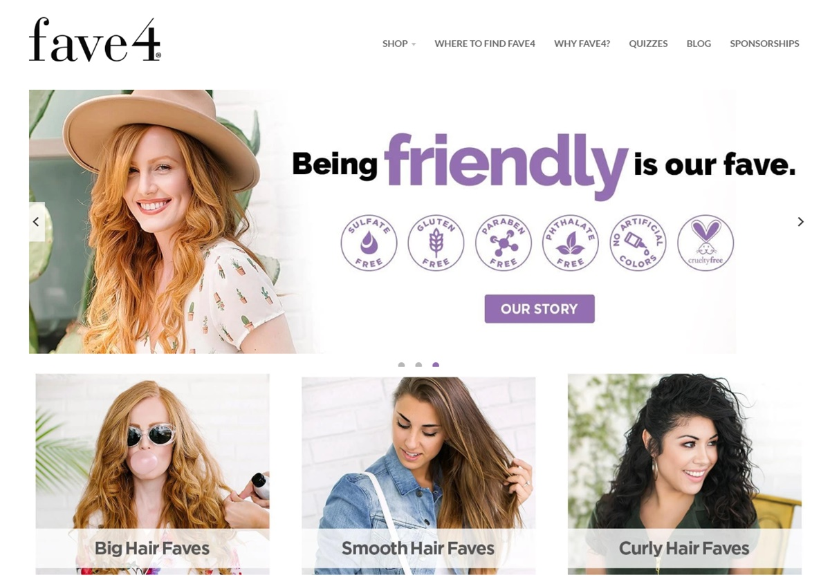 Fave4 hair care website