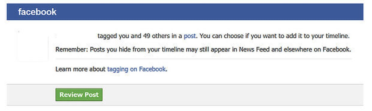 An example of notification from Facebook