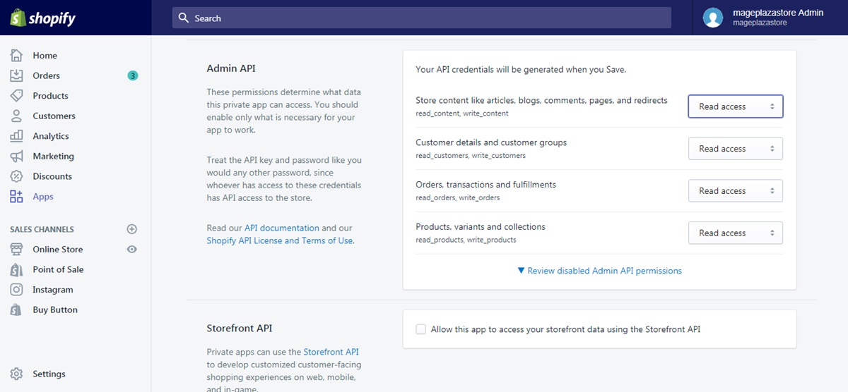 generate credentials from the Shopify admin