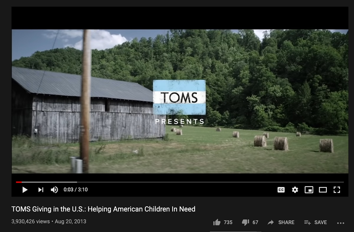 Toms marketing campaign: Helping American Children In Need