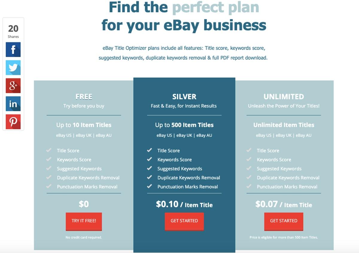 eBay Title Optimizer's pricing plans