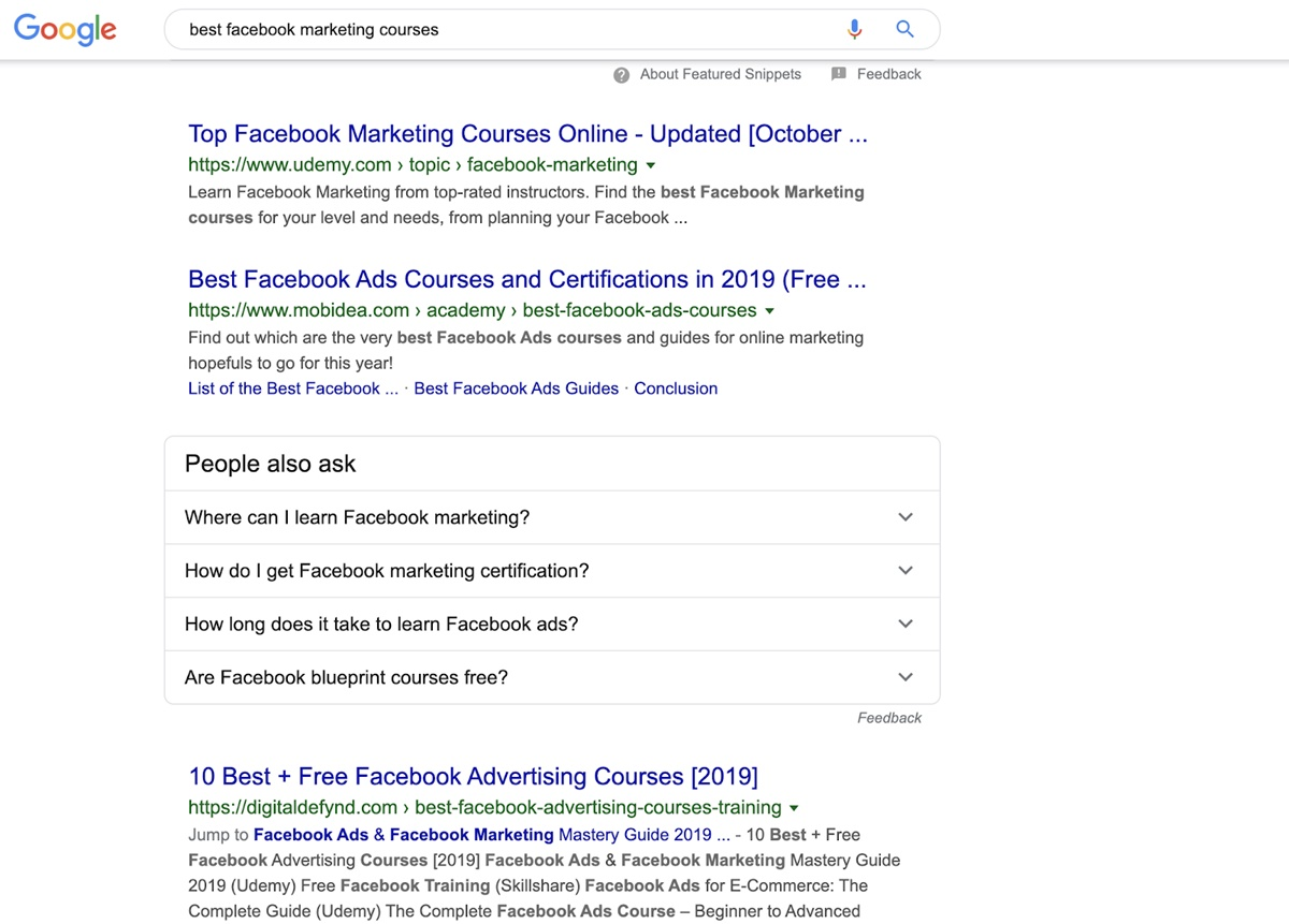 Build your marketing funnel: SERPs to modifier keywords