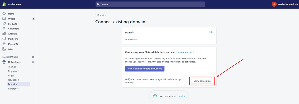 how link godaddy domain shopify