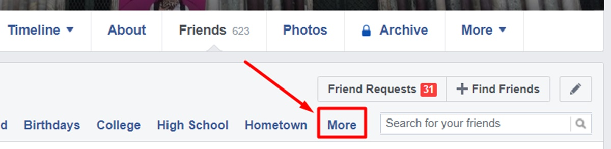 Head to your friends tab and choose the More section