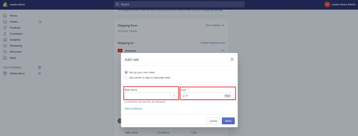 customize shopify shipping time