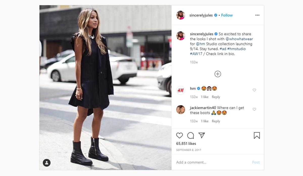 Fashion blogger Julie Sariñana promote H&M on her Instagram
