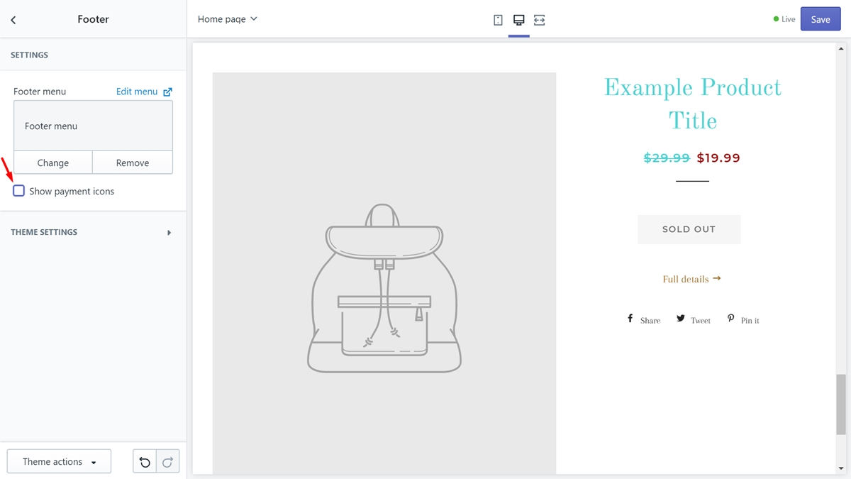 How to edit Shopify payment icons from the footer