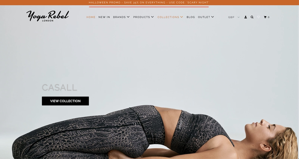 Shopify Store Examples: Yoga Rebel - Yoga clothes store