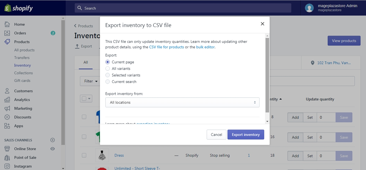 how export inventory shopify