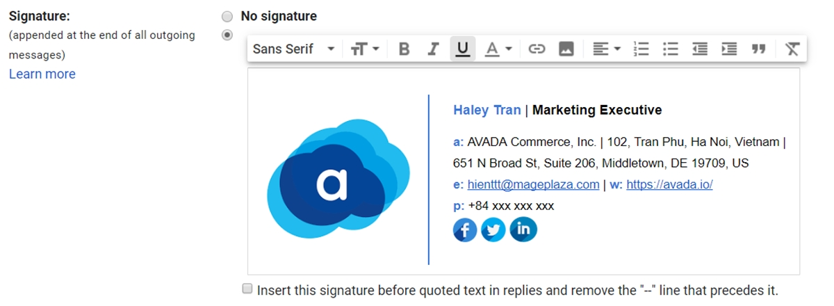 Type the contact details of your new signature