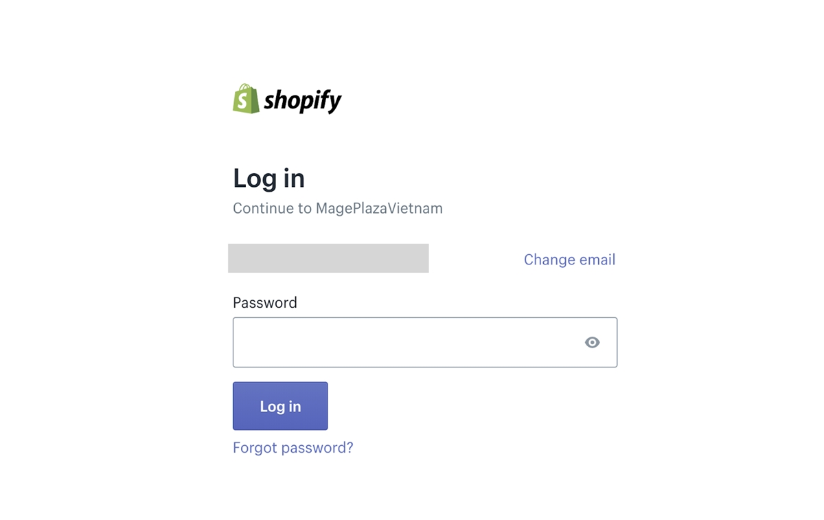 Shopify login: Enter admin Password