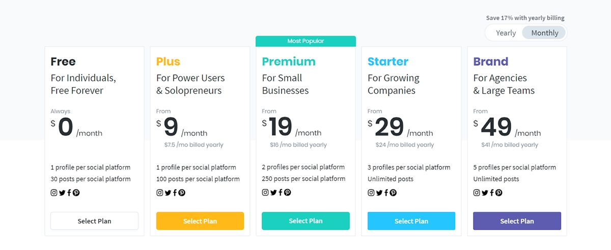 Later's pricing plans