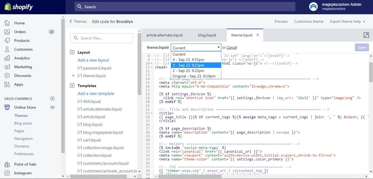 edit Shopify theme code