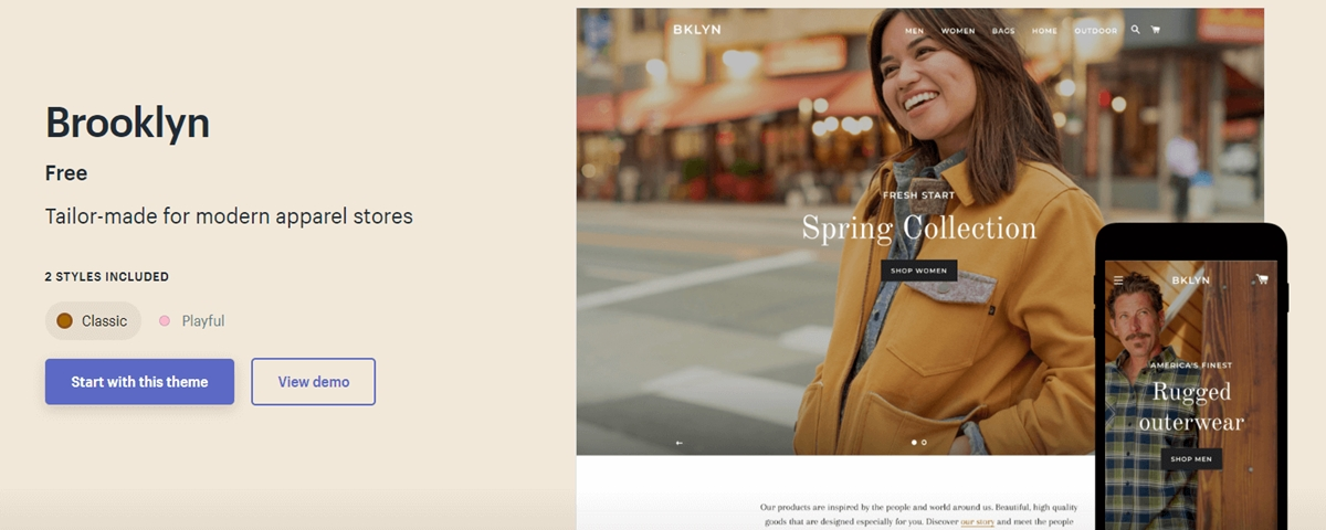 Shopify Brooklyn Theme Review: Free Theme for Modern Apparel Stores