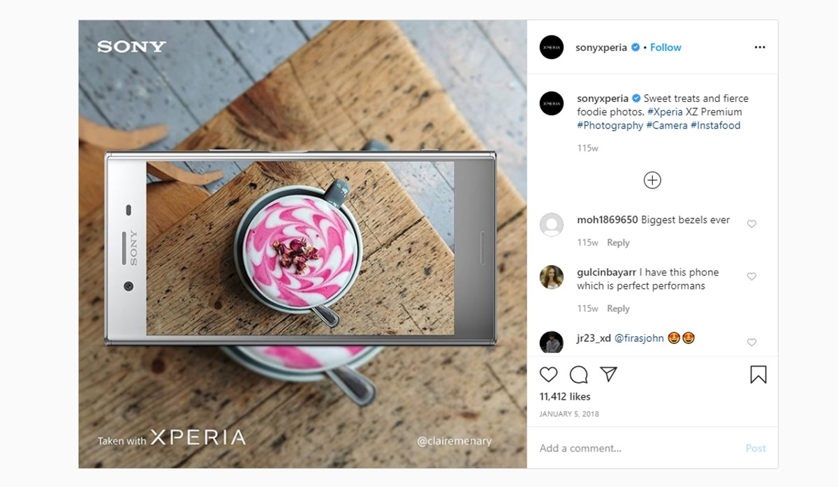 Sony Xperia's campaign on Instagram