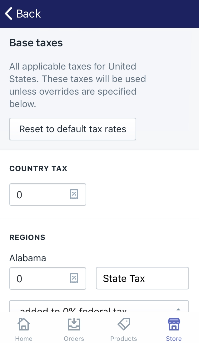 How to set up tax rates manually