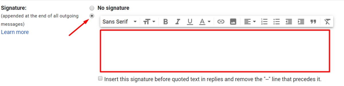 The Signature section in the email
