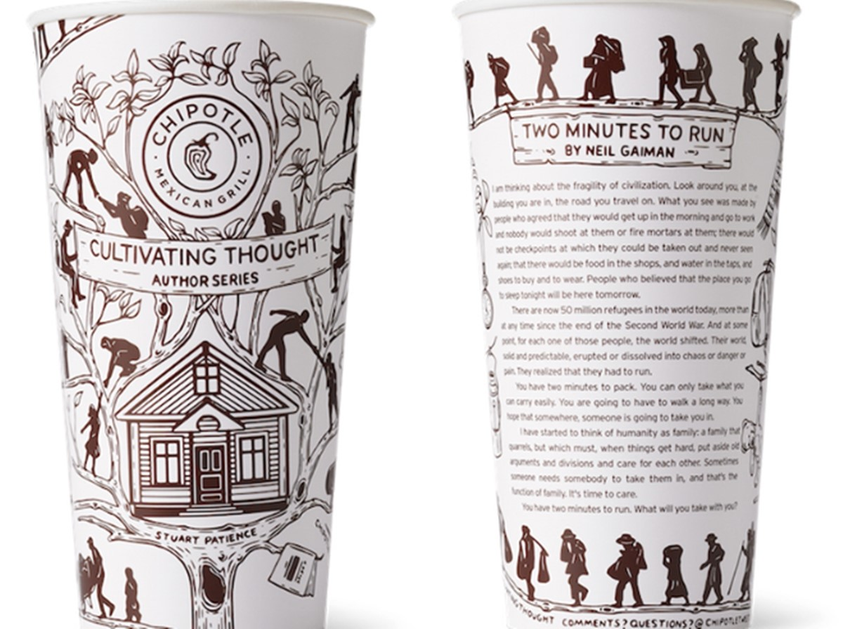 """Chipotle cups with the """"Cultivating Thought"""" idea"""