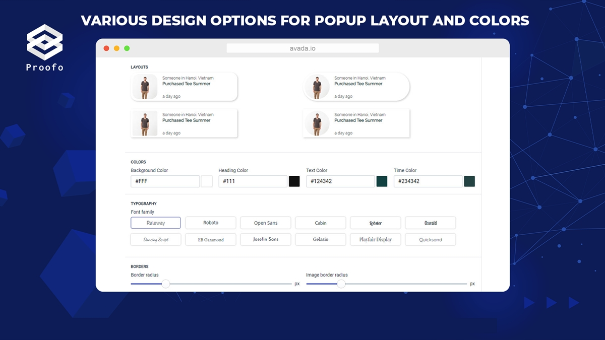 Customizable design and layout