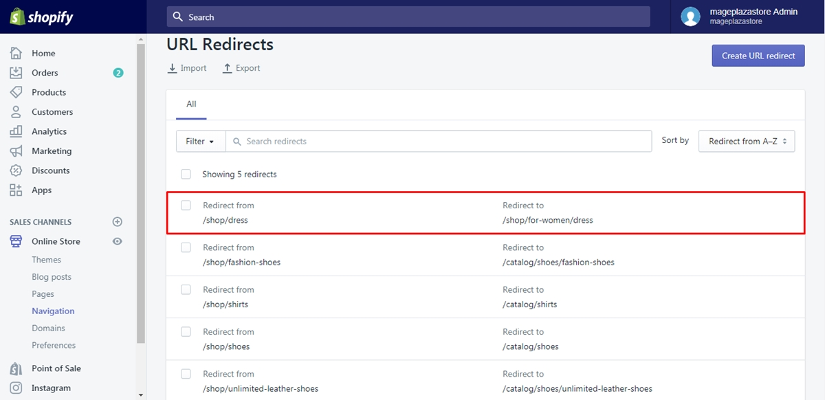 edit URL redirects