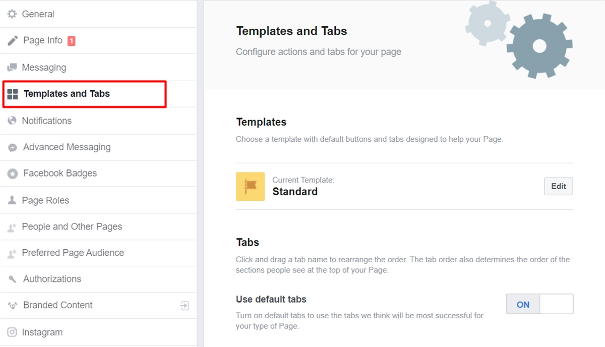 Select the Templates and Tabs section and choose Add a Tab