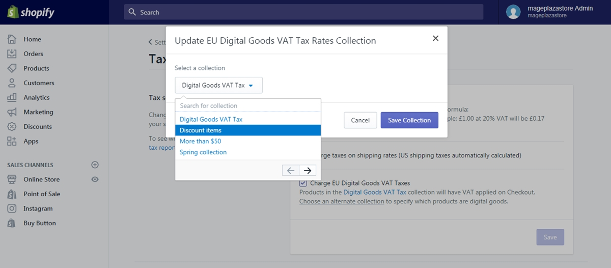 apply the digital goods VAT rates to a different collection