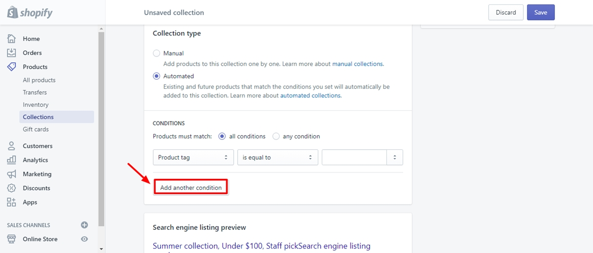 how to seo collection page on shopify
