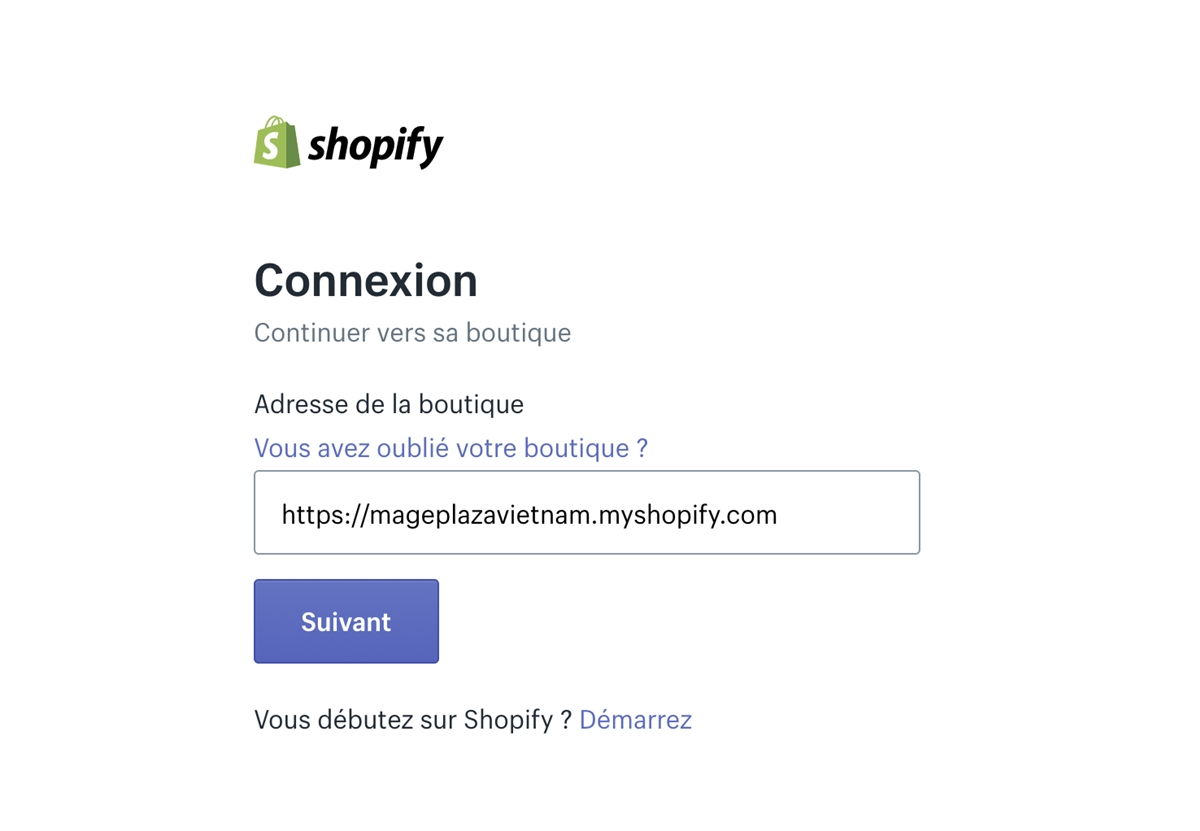 Shopify login: Enter Shopify's store name