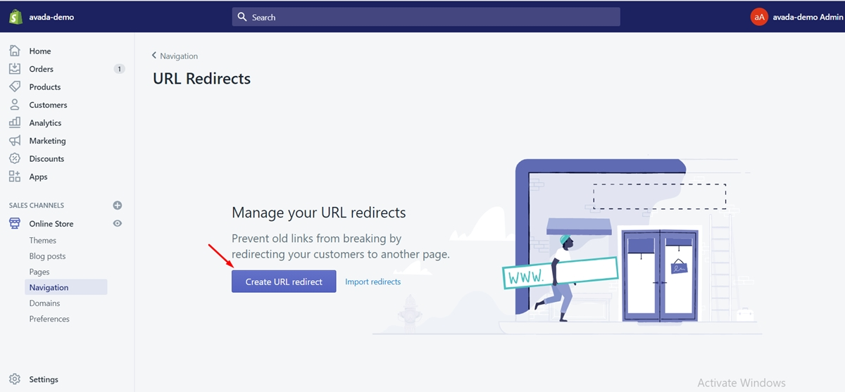 how produce URL redirect shopify store