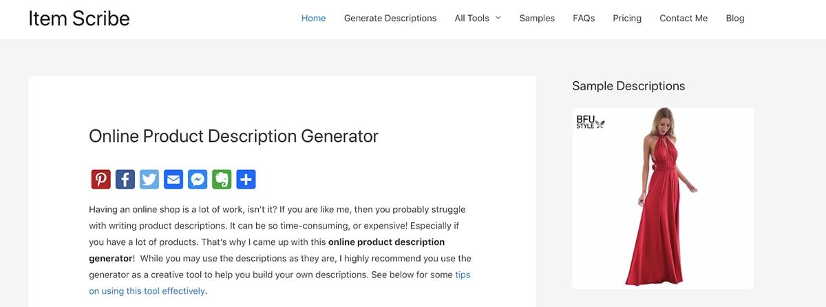 Item Scribe - Product description generation tool