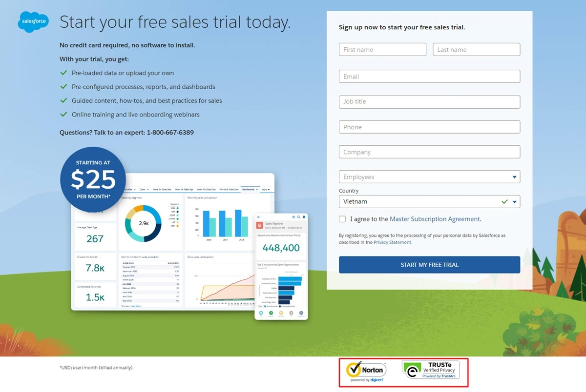 Saleforce's trust badges on the free trial landing page