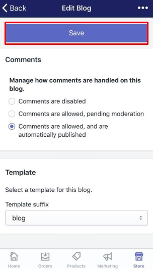 To apply a template to a blog on iPhone 7