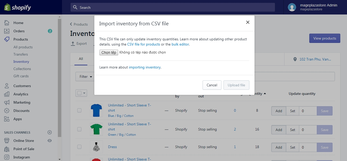 how to import inventory on shopify