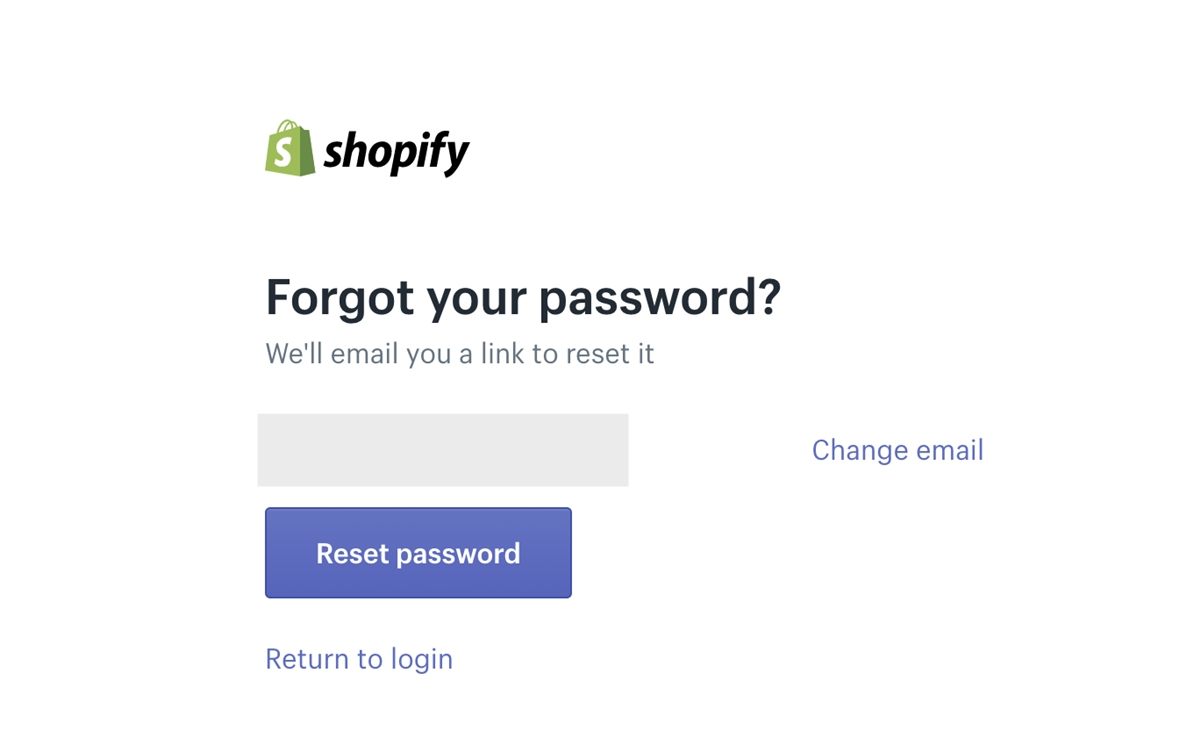 Shopify login: Forgot admin password