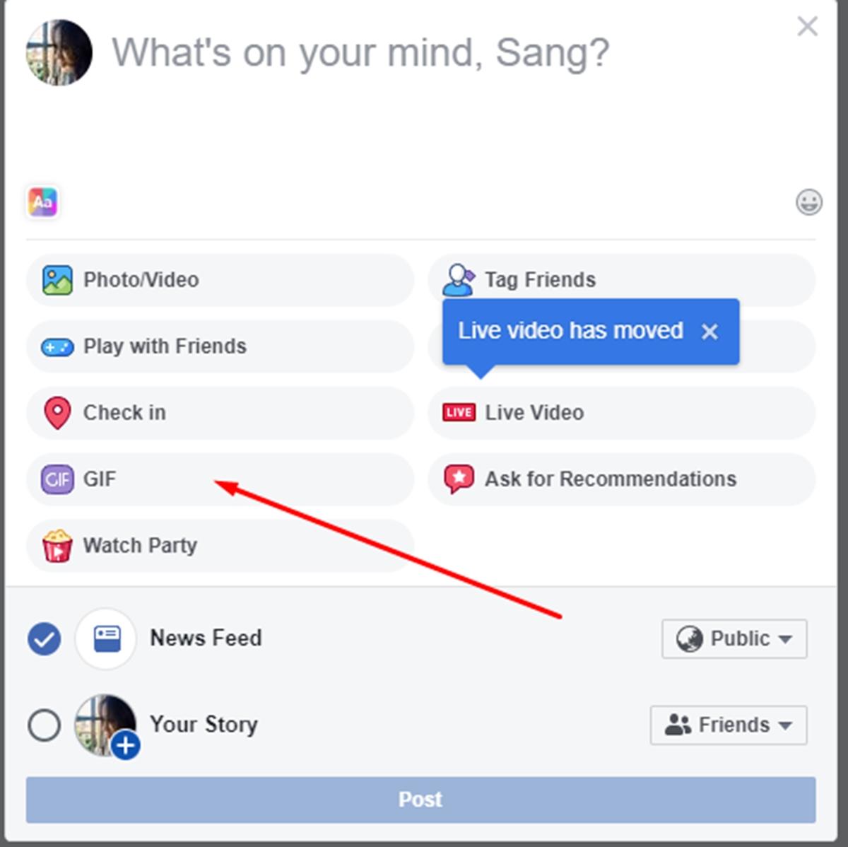 Choose the Facebook gif button