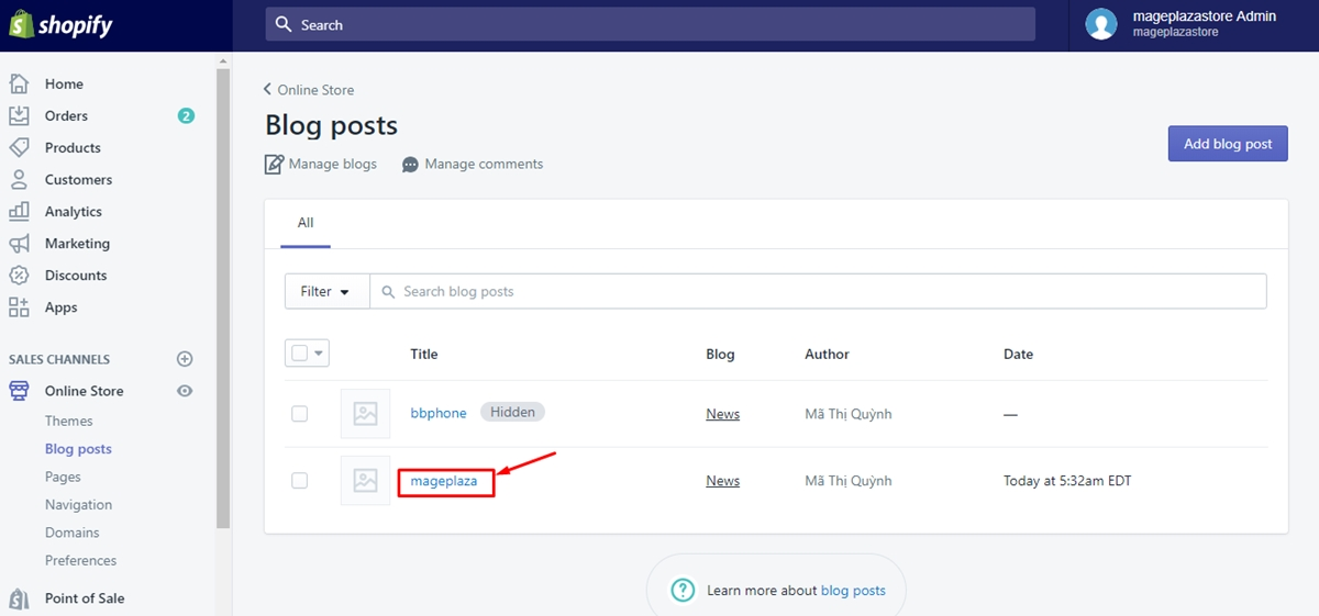 To set a specific publish date for a blog post on Desktop 2