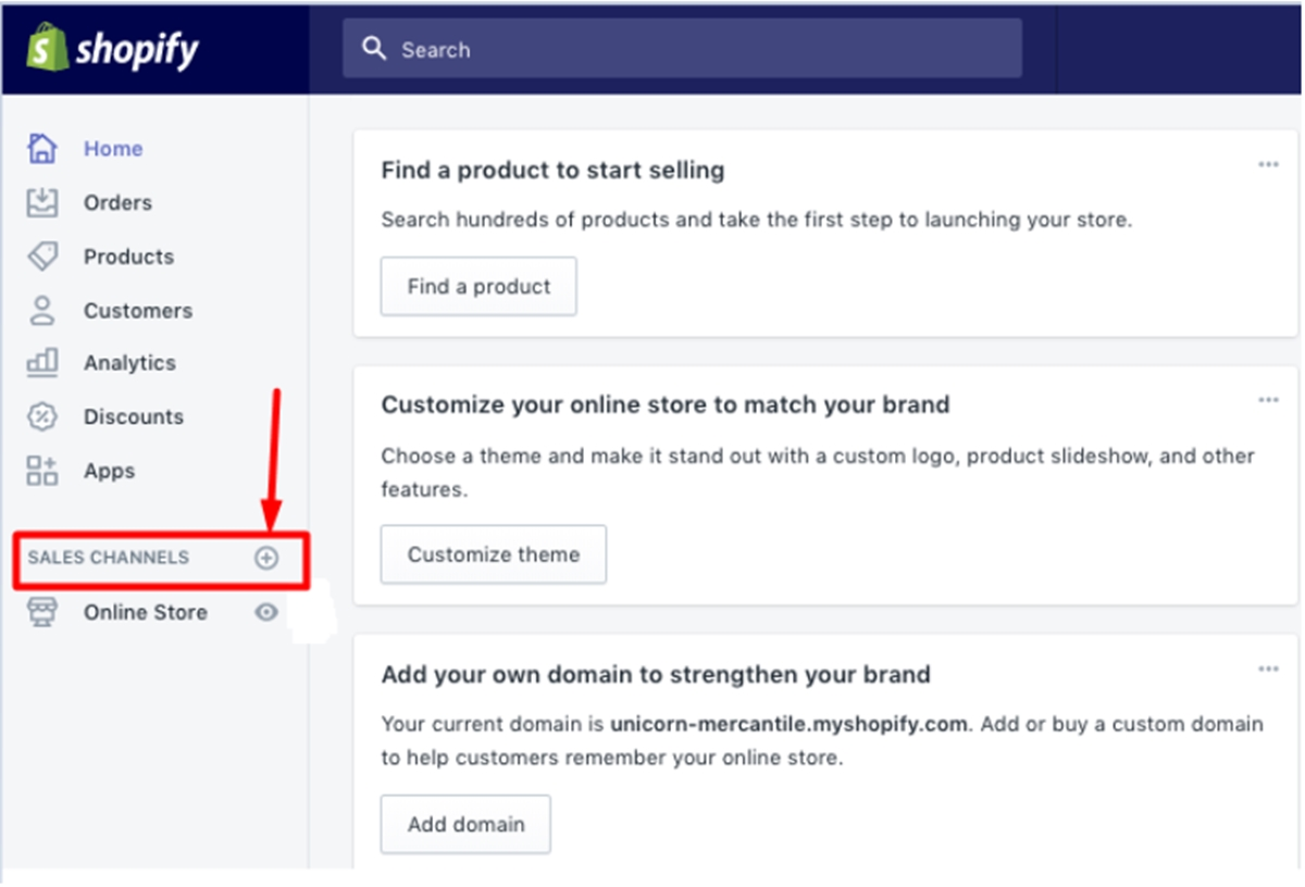 Click the + symbol next to the Sales Channel