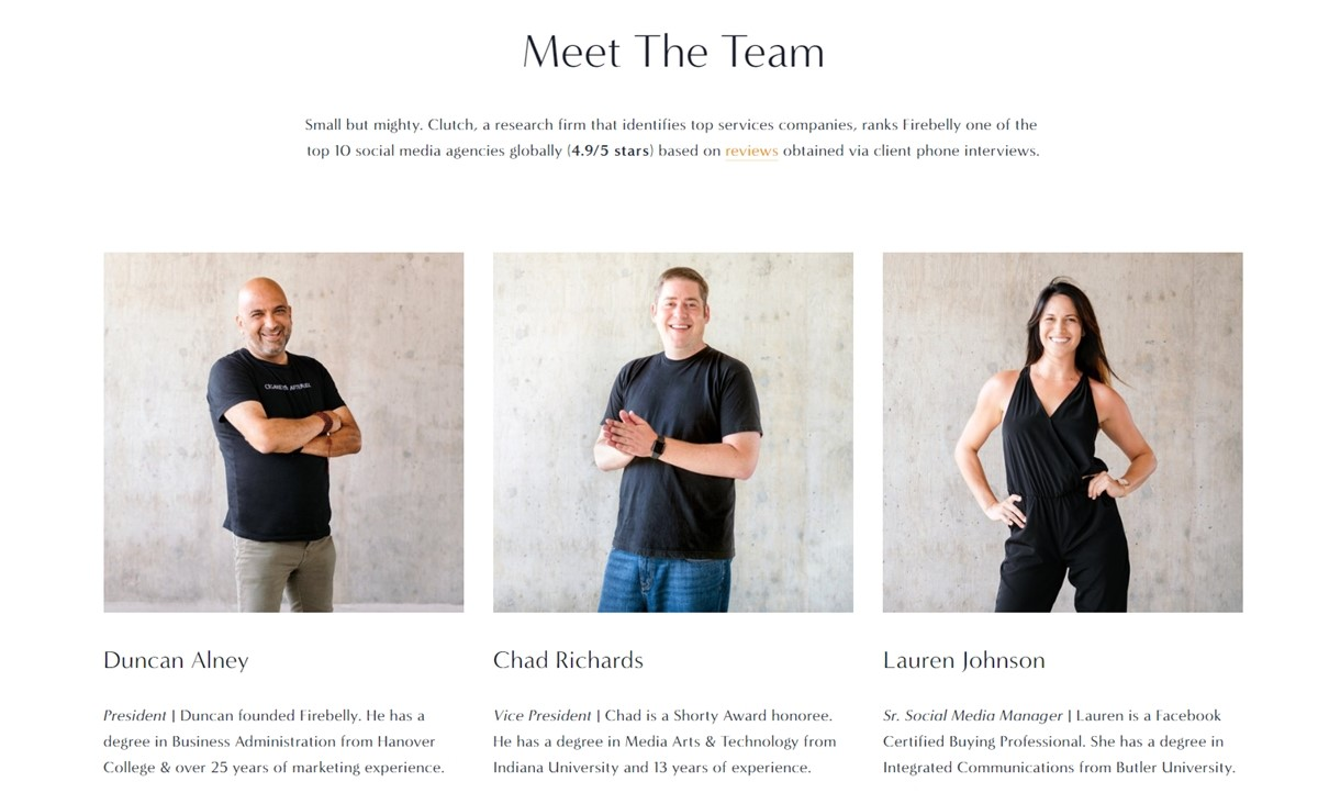 Firebelly's team with years of experience