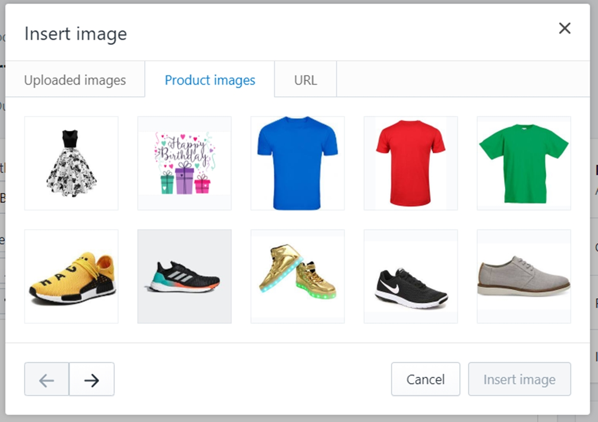how to Insert Image from Product Images with the rich text editor