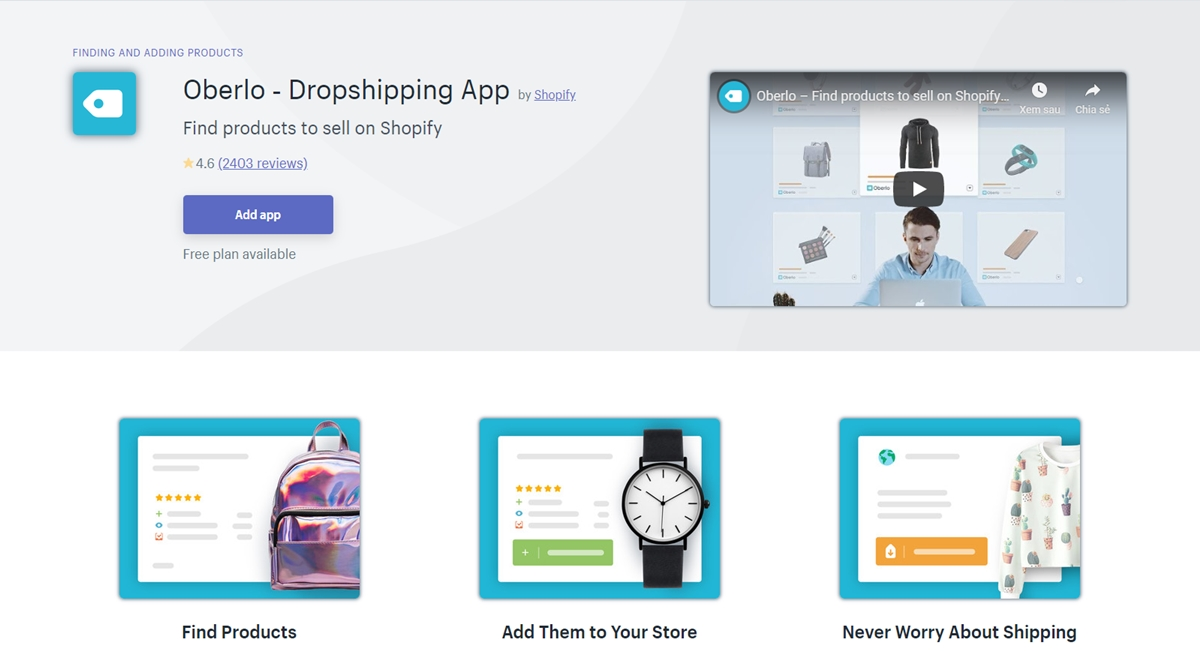 Necessary dropshipping apps: Oberlo