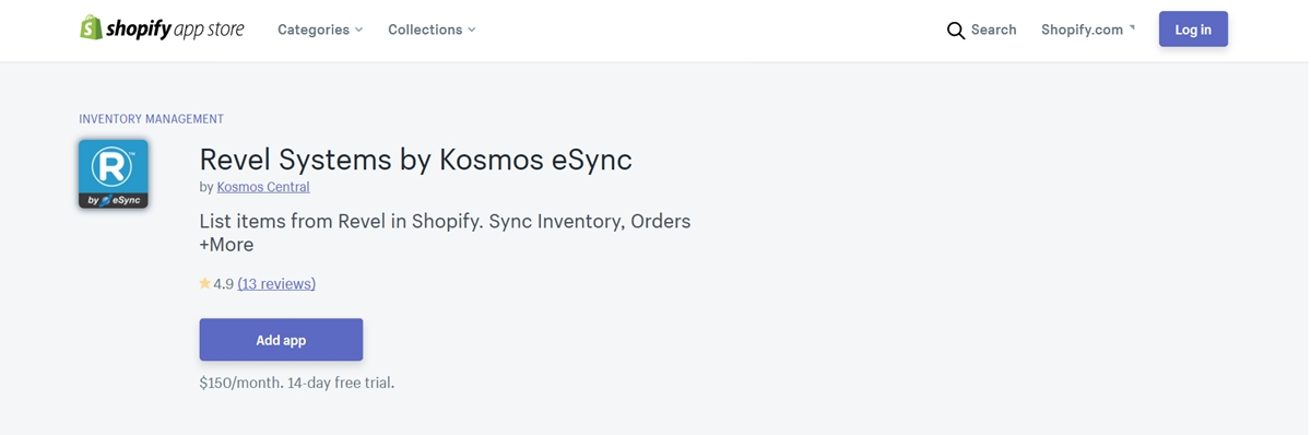Revel Systems by Kosmos eSync to integrate Revel POS with Shopify