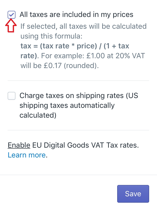 How to include taxes on product prices