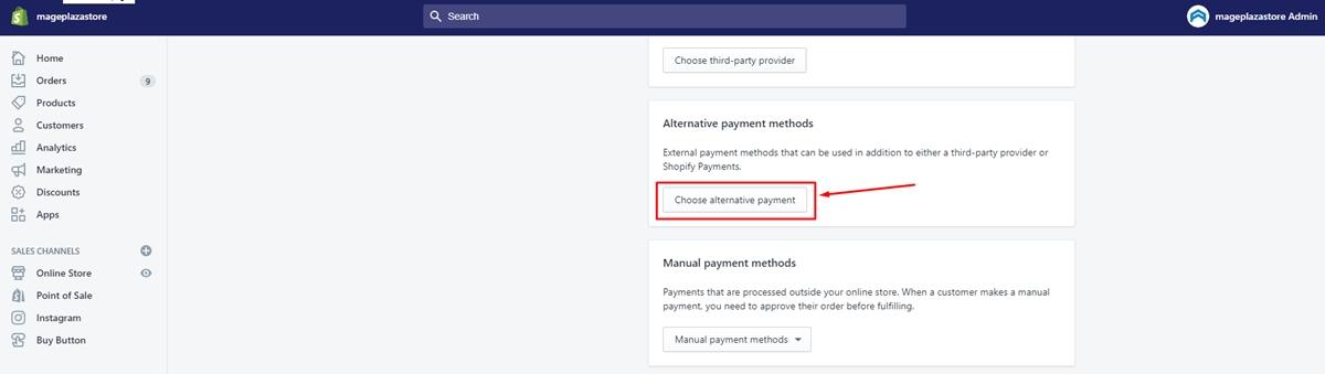 Setup Alternative payments
