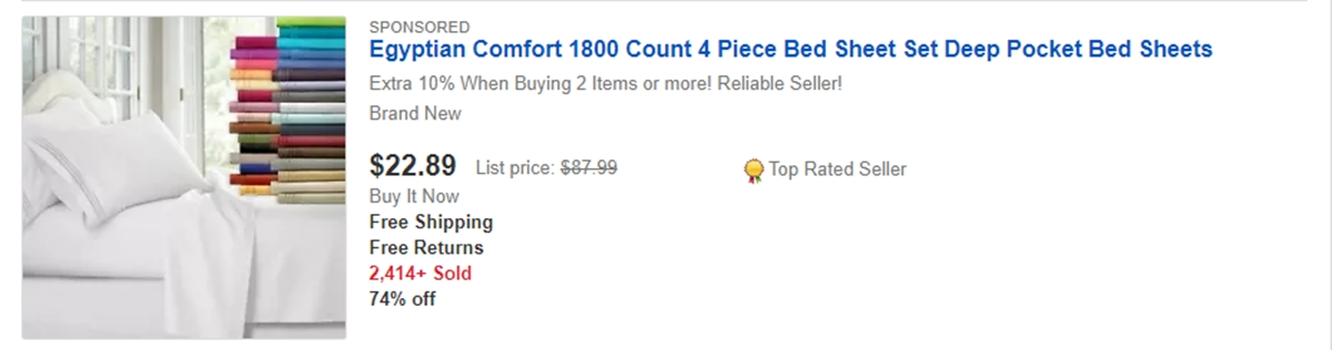 Bed sheet can make a lot of sales on eBay too